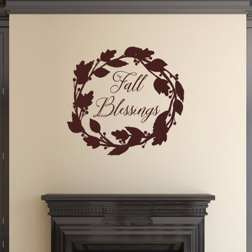 Fall Blessings Script With Wreath Vinyl Wall Decal 22589
