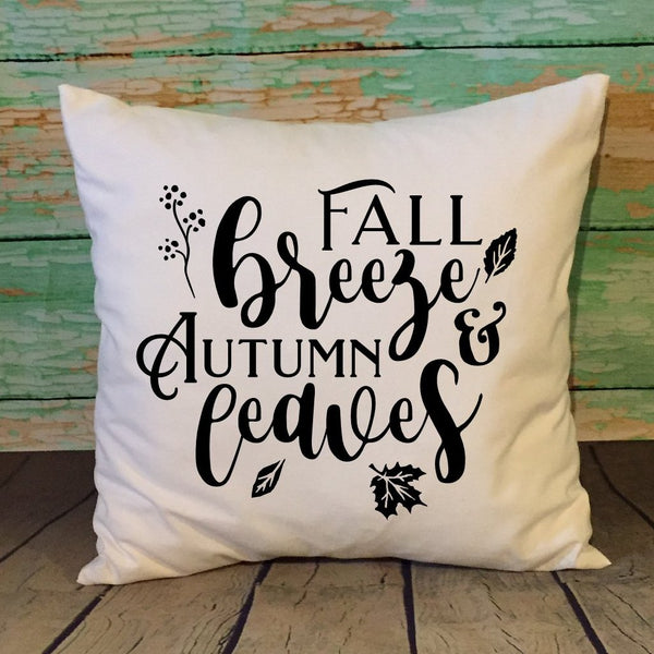 Fall Breeze And Autumn Leaves White Throw Pillow Cover