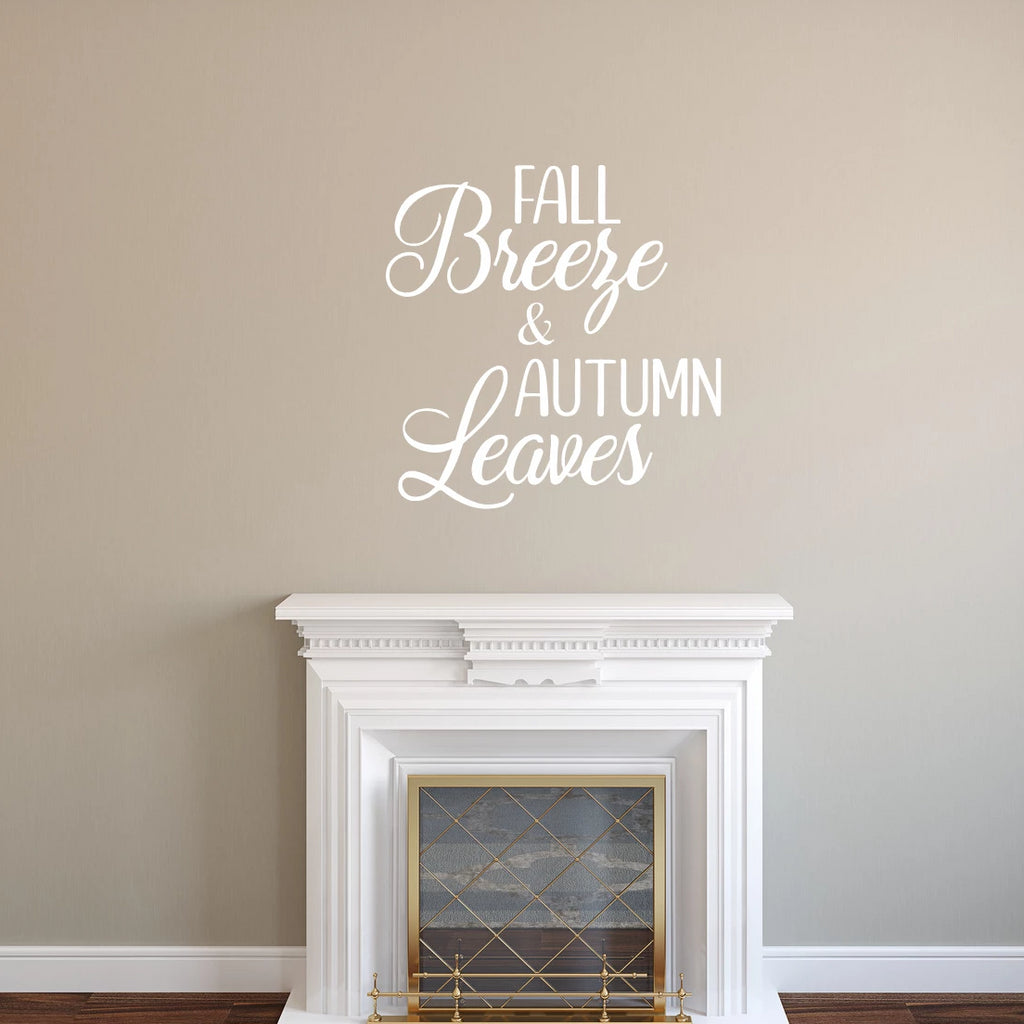 Fall Breeze And Autumn Leaves Vinyl Wall Decal White