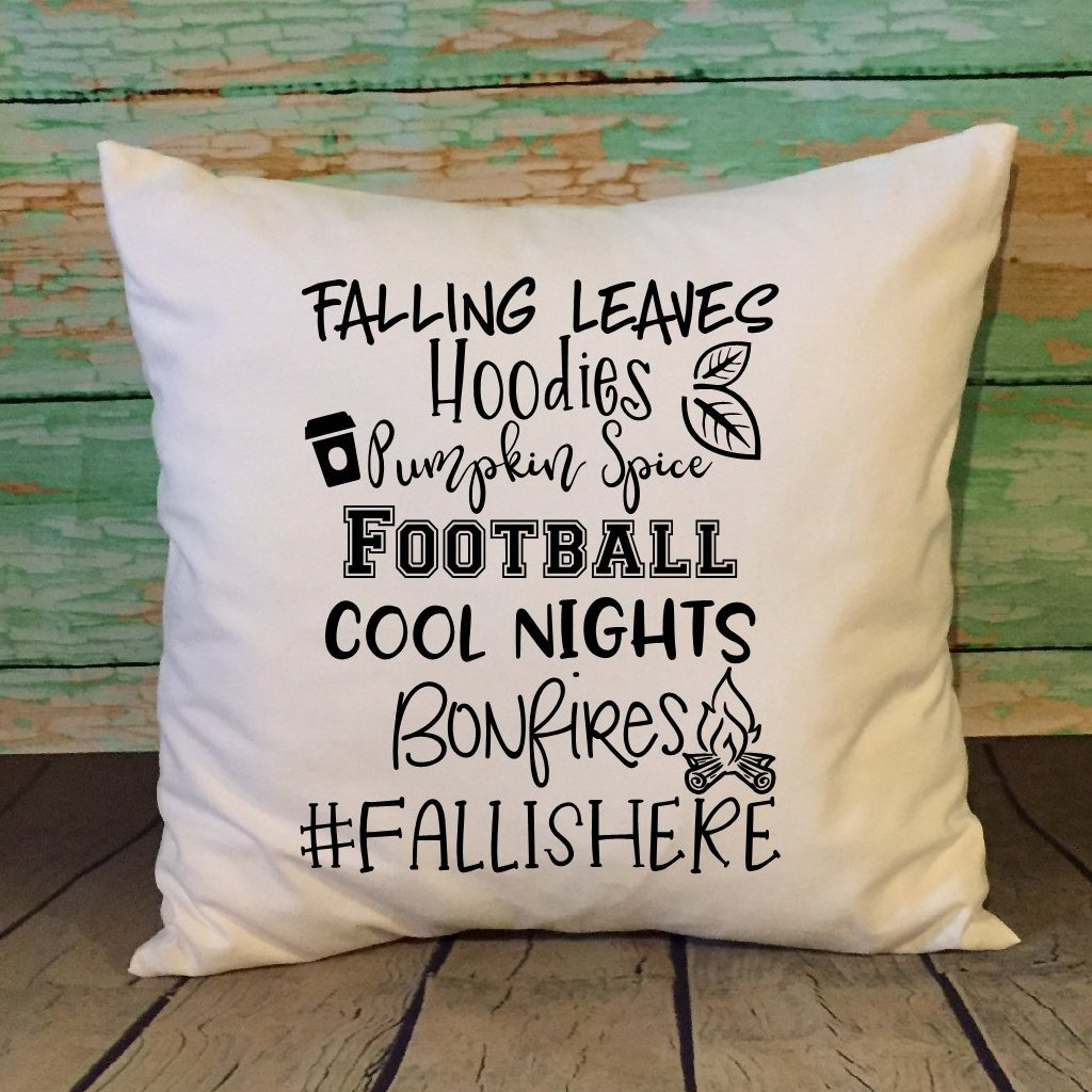 Fall Is Here Throw Pillow Cover White Color