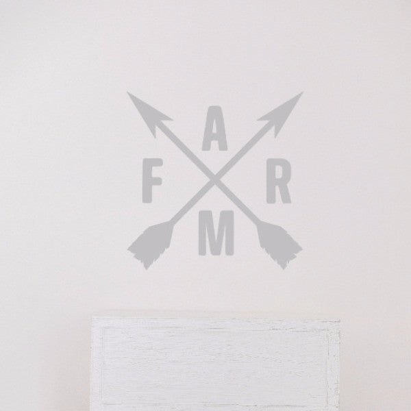 Crossed Arrows With Farm Letters Vinyl Wall Decal