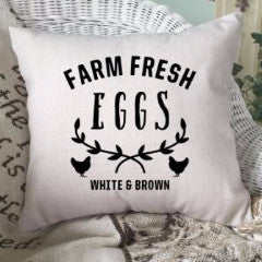 Farm Fresh Eggs Pillow Cover Black