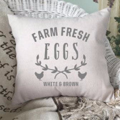 Farm Fresh Eggs Pillow Cover Gray