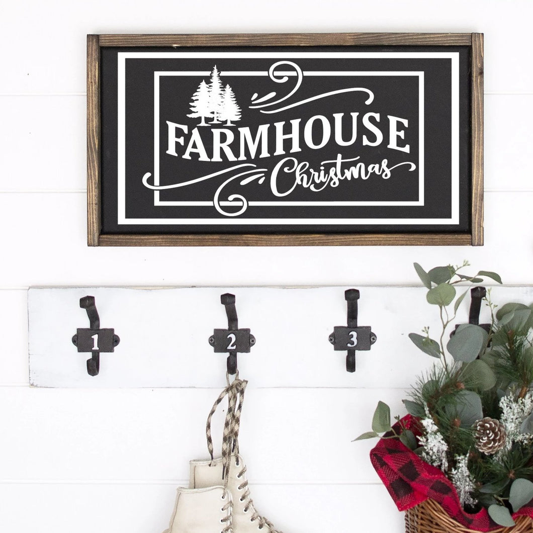 Farmhouse Christmas Painted Wood Sign Black Board White Lettering