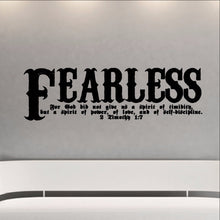 Load image into Gallery viewer, Fearless Bible Verse Scripture Wall Decal - 2 Timothy 1:7 Fearless Vinyl Sticker Art 22107 - Cuttin' Up Custom Die Cuts - 1