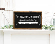 Load image into Gallery viewer, Flower Market Painted Wood Sign Black