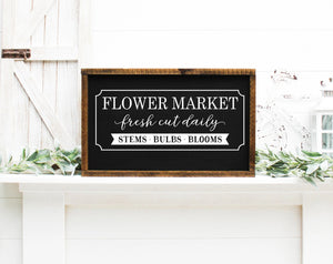 Flower Market Painted Wood Sign Black