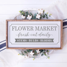 Load image into Gallery viewer, Flower Market Painted Wood Sign White