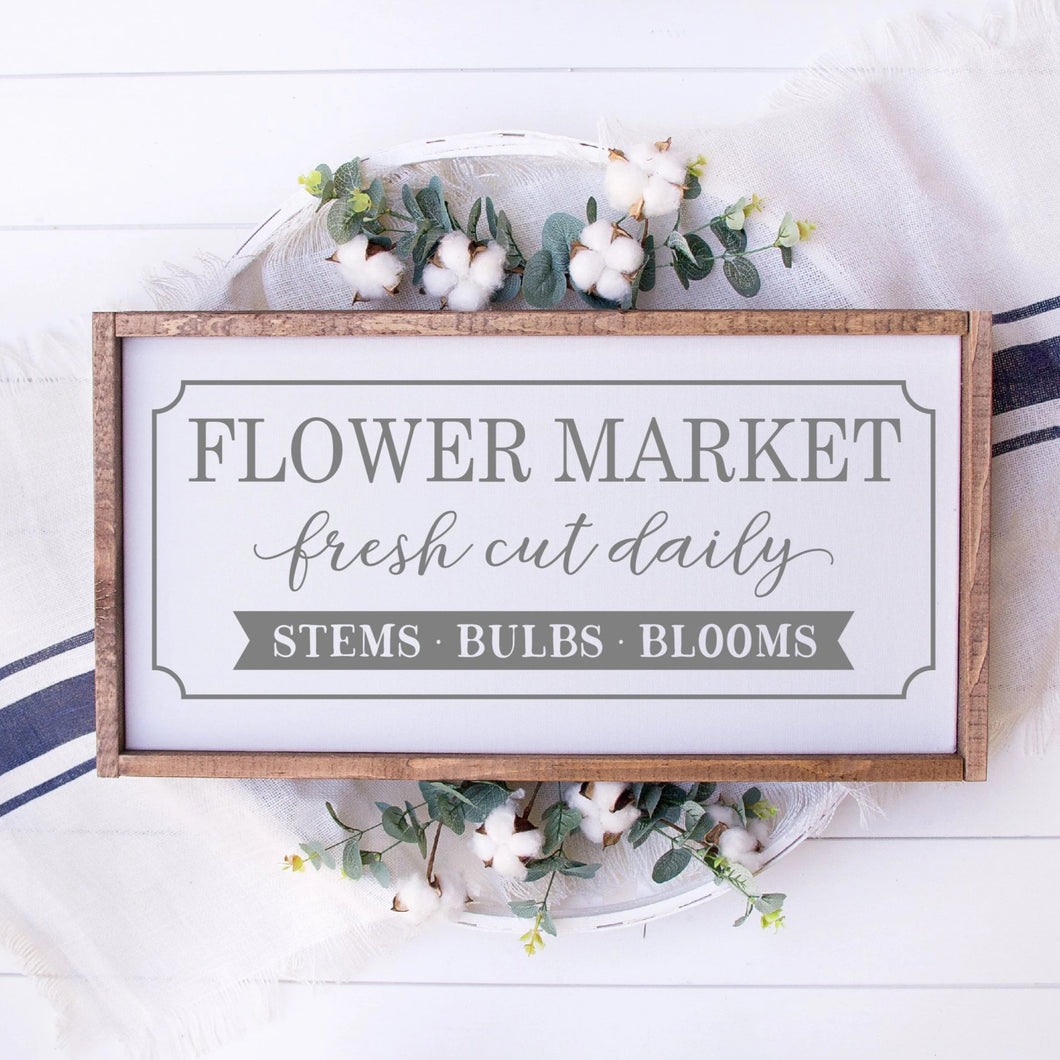 Flower Market Painted Wood Sign White
