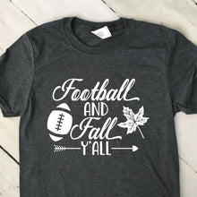 Load image into Gallery viewer, Football And Fall Y'All Short Sleeve T Shirt Dark Heather Gray