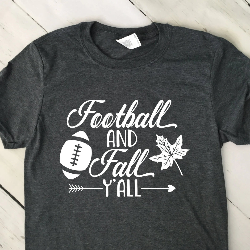 Football And Fall Y'All Short Sleeve T Shirt Dark Heather Gray