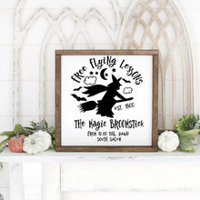 Load image into Gallery viewer, Free Flying Lessons Halloween Hand Painted Framed Wood Sign White Board Black Letters