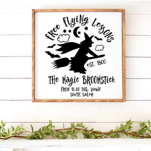 Free Flying Lessons Halloween Hand Painted Frame Wood Sign White Board Black Letters