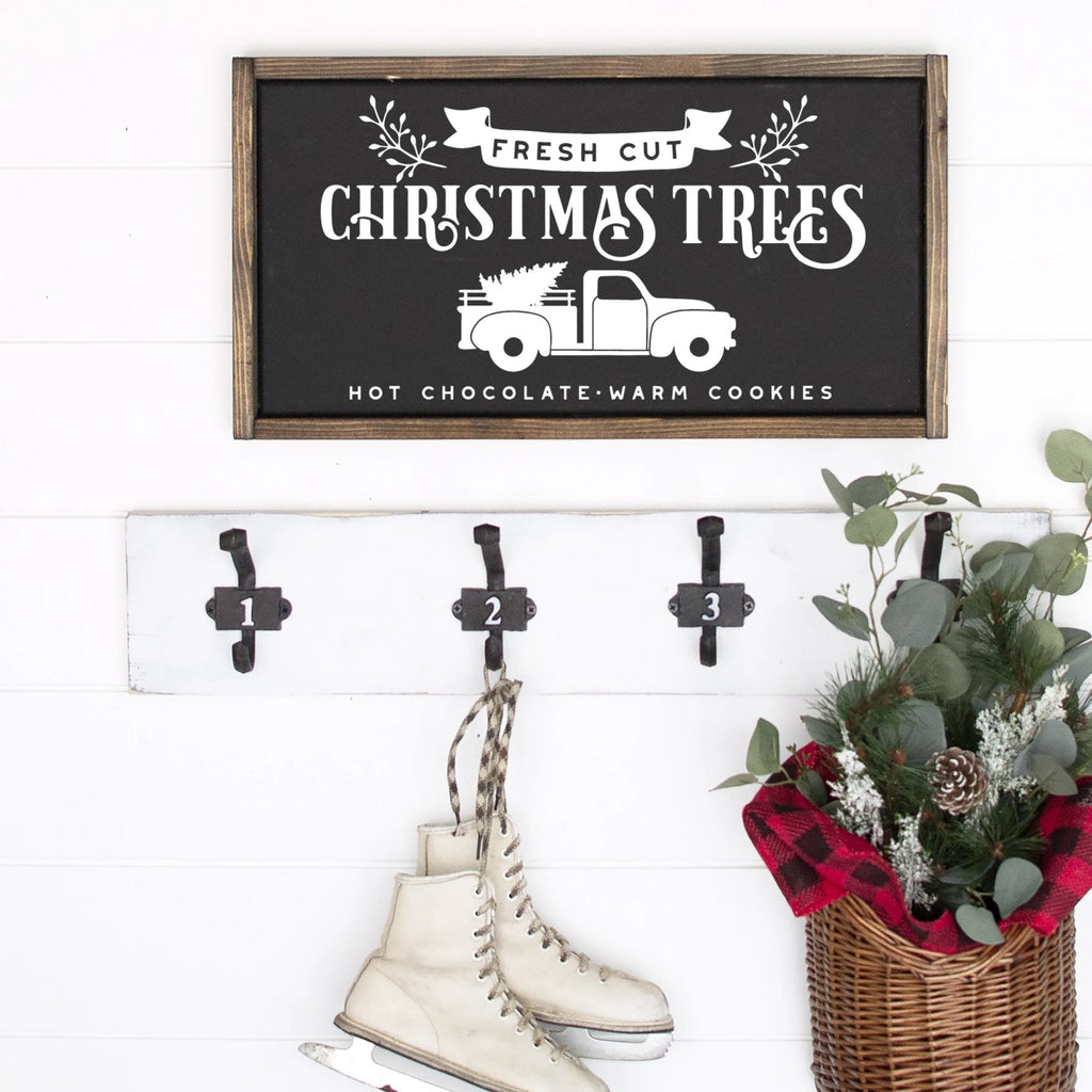Fresh Cut Christmas Trees Painted Wood Sign Black Board White Lettering