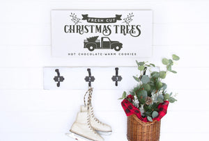 Fresh Cut Christmas Trees Painted Wood Sign White Board Charcoal Lettering