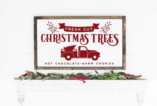 Fresh Cut Christmas Trees Painted Framed Wood Sign White Board Red Lettering
