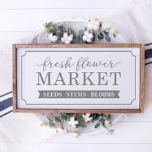 Load image into Gallery viewer, Fresh Flower Market Painted Wood Sign White
