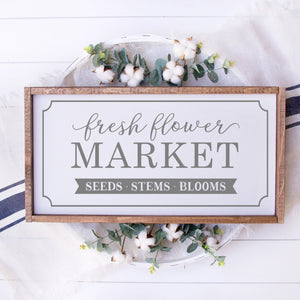 Fresh Flower Market Painted Wood Sign White