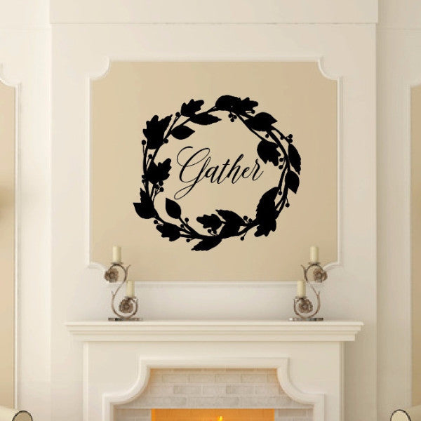Gather with Fall Wreath Vinyl Wall Decal 22586