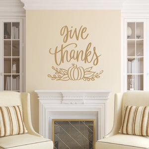 Give Thanks Vinyl Wall Decal Light Brown