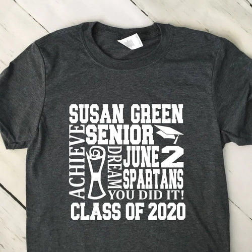 Personalized Subway Art Graduation T Shirt Dark Heather Gray