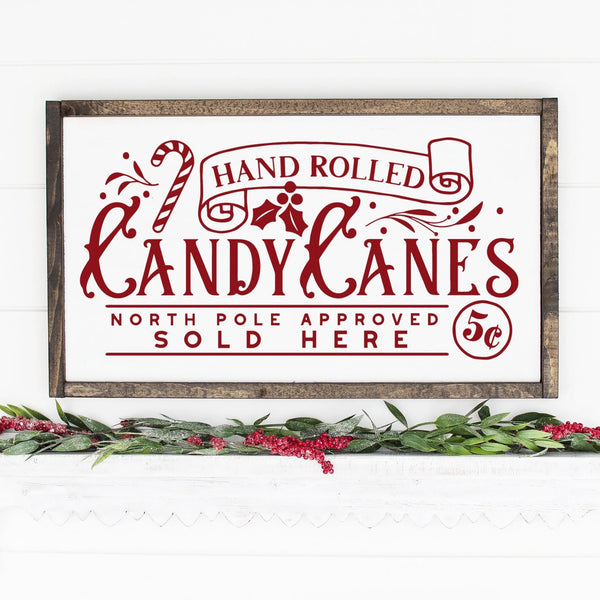Hand Rolled Candy Canes Painted Wood Sign White Board Red Lettering