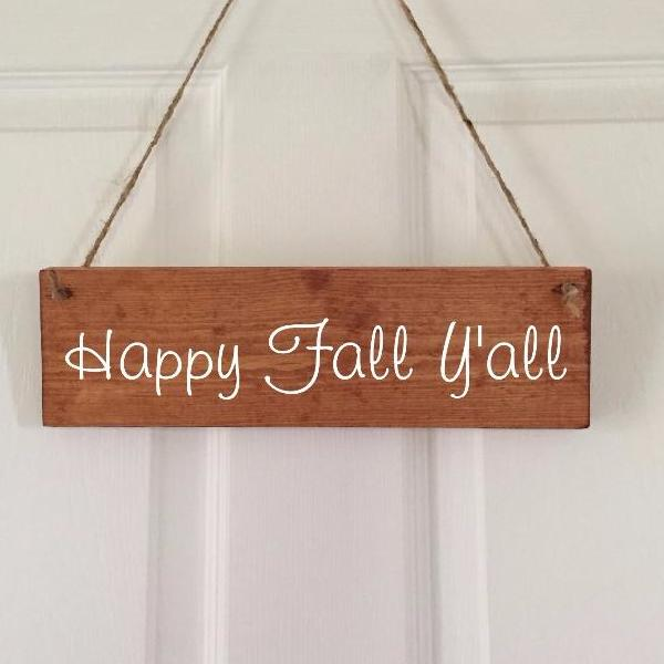 Happy Fall Yall Wood Door Sign
