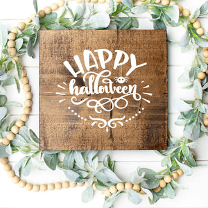 Happy Halloween Hand Painted Wood Sign Dark Walnut Board White Lettering