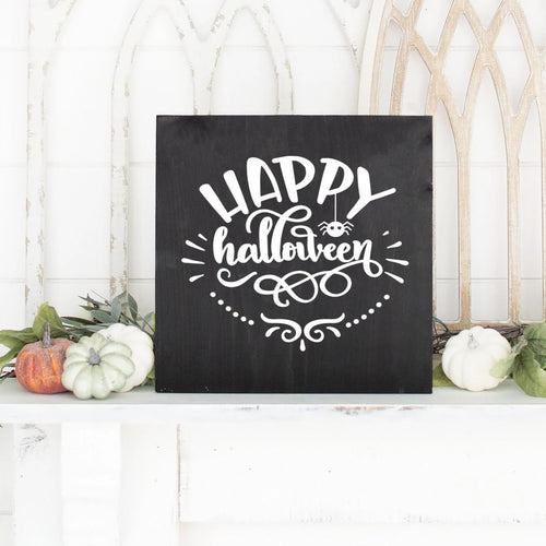 Happy Halloween Hand Painted Wood Sign Black Board White Letters