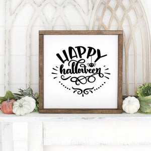 Happy Halloween Hand Painted Framed Wood Sign Small White Board Black Lettering