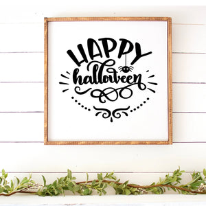 Happy Halloween Hand Painted Framed Wood Sign Large White Board Black Lettering