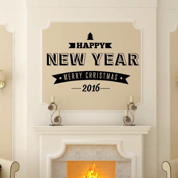 Happy New Year Merry Christmas With Year Retro Style Vinyl Wall Decal  22591