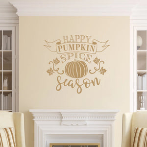 Happy Pumpkin Spice Season Vinyl Wall Decal Style B Light Brown