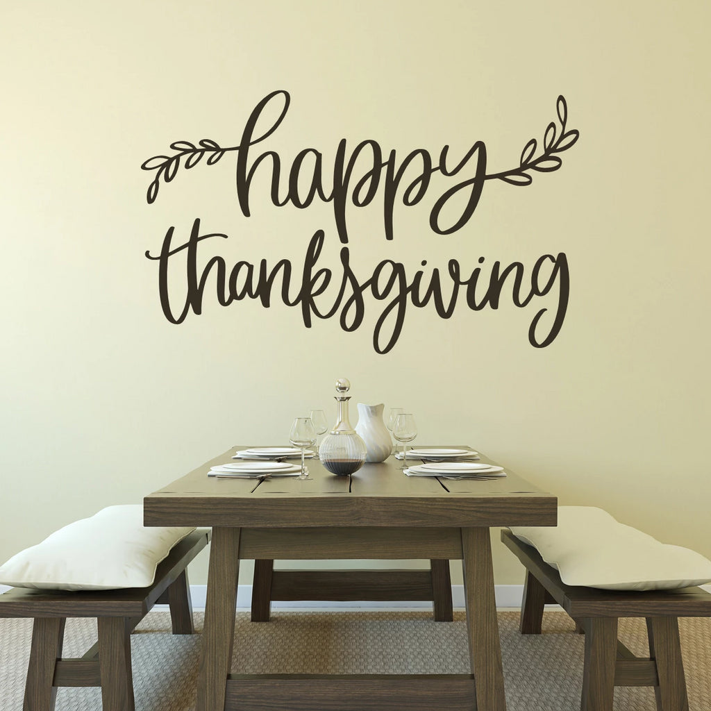 Happy Thanksgiving Vinyl Wall Decal Brown