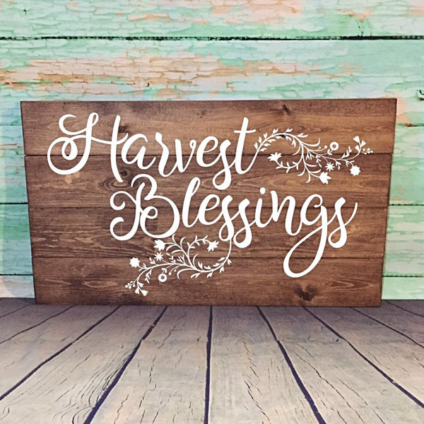 Harvest Blessings Painted Wooden Sign