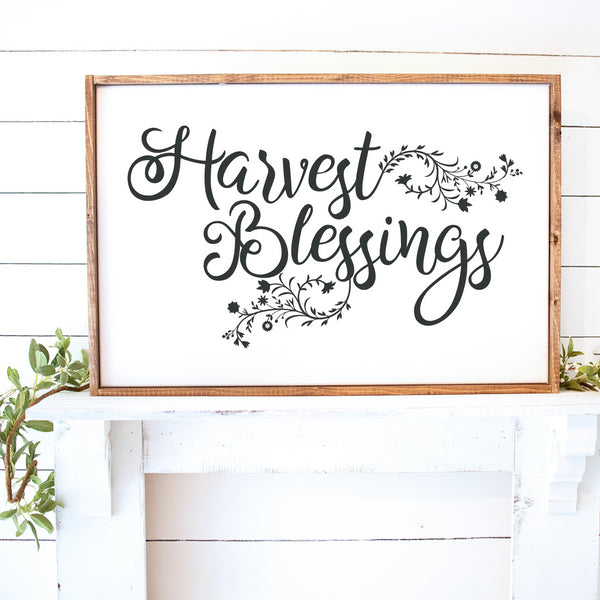 Harvest Blessings Painted Framed Wood Sign White Board Charcoal Lettering