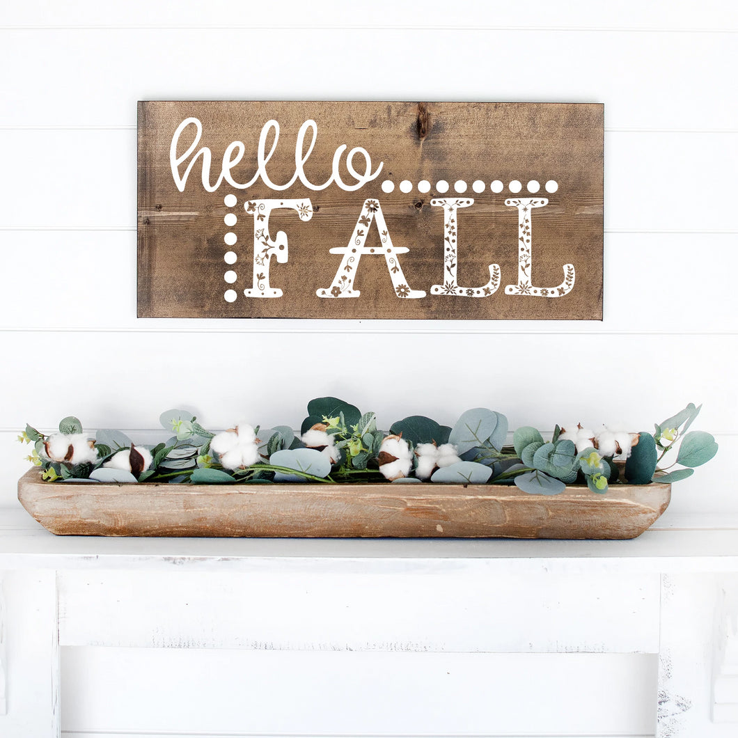 Hello Fall Hand Painted Wood Sign Dark Walnut Stain White Letters
