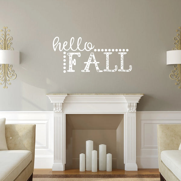 Hello Fall Vinyl Wall Decal White