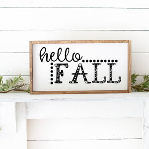 Hello Fall Framed Hand Painted Wood Sign White Board Black Lettering