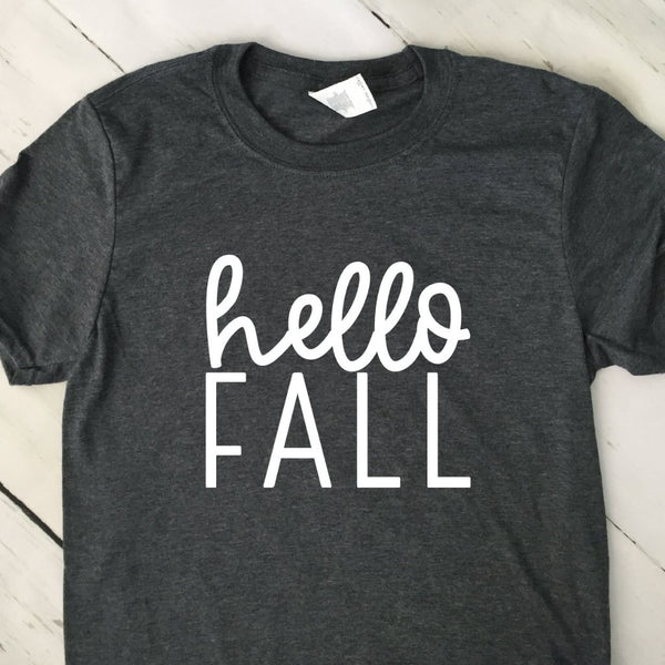 Hello Fall Gray Short Sleeved T Shirt