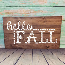Load image into Gallery viewer, Hello Fall Hand Painted Wood Sign Plank Style Dark Walnut Stain White Letters