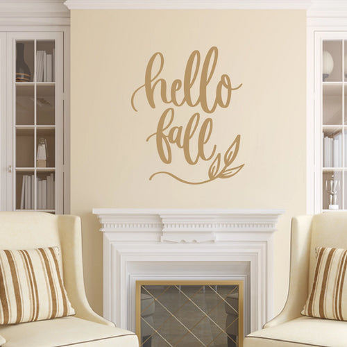 Hello Fall Vinyl Wall Decal Light Brown
