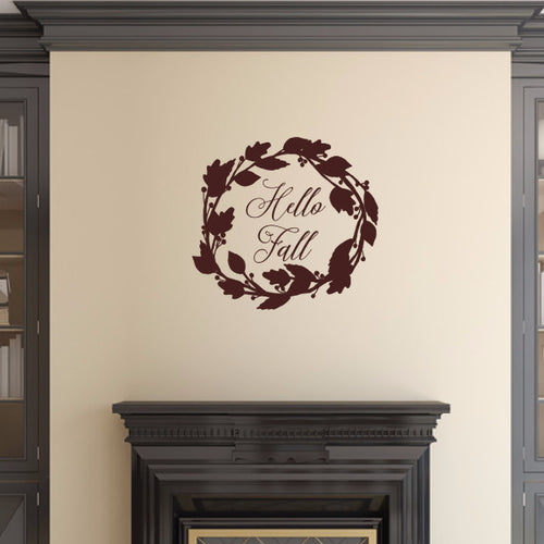 Hello Fall With Wreath Vinyl Wall Decal 22587