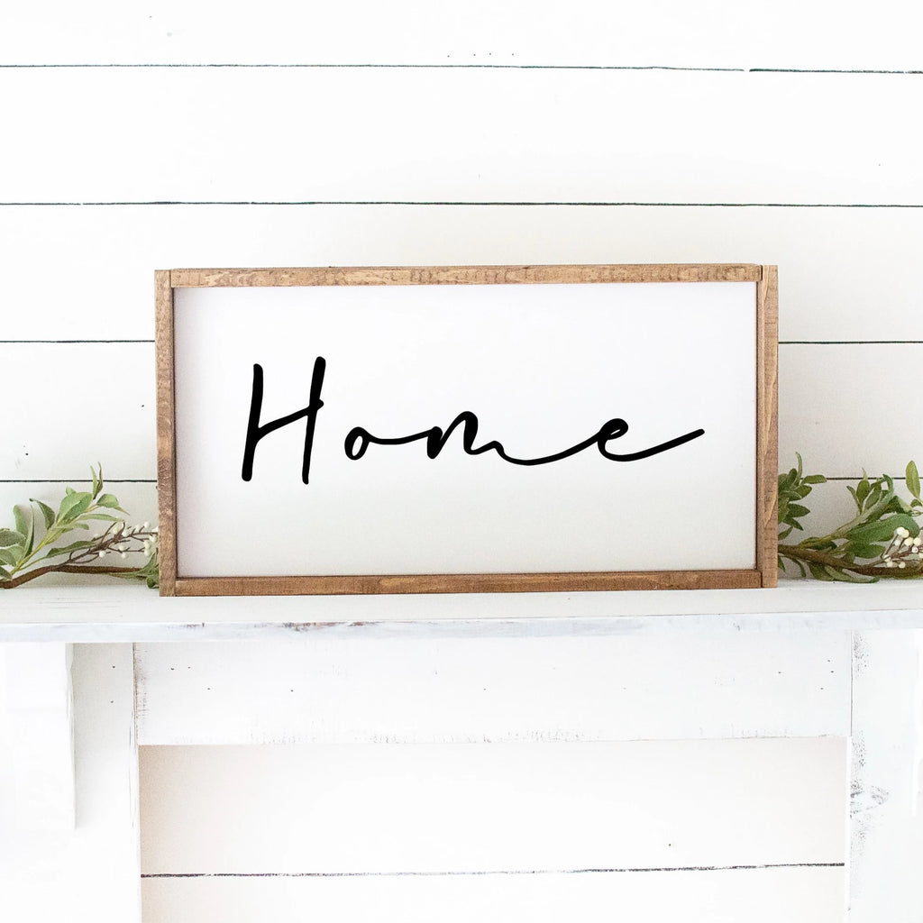Home Script Hand Painted Custom Wood Sign White Board Black Letters