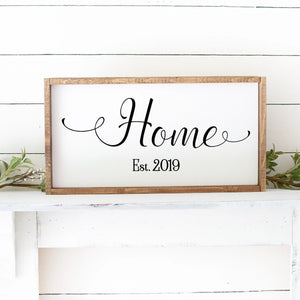 Home With Established Date Hand Painted Custom Wood Sign White Board Black Letters