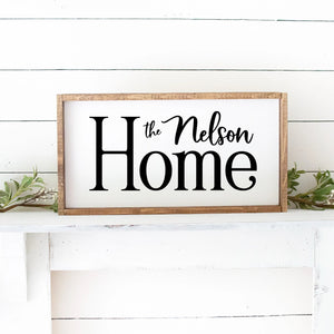 Home With Last Name Hand Painted Custom Wood Sign White Board Black Lettering