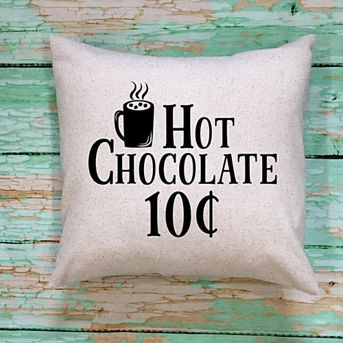 Hot Chocolate Ten Cents Throw Pillow Cover Cream and Black