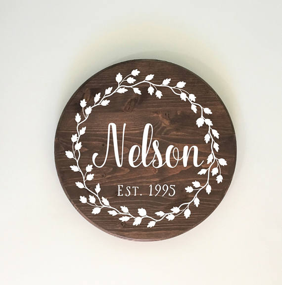 Round Hand Painted Name Sign