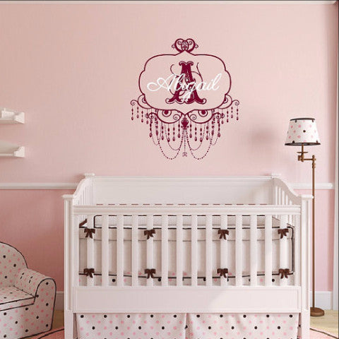 Personalized Monogram Chandelier Frame Style A with Name Nursery Vinyl Wall Decal 22508 - Cuttin' Up Custom Die Cuts - 1
