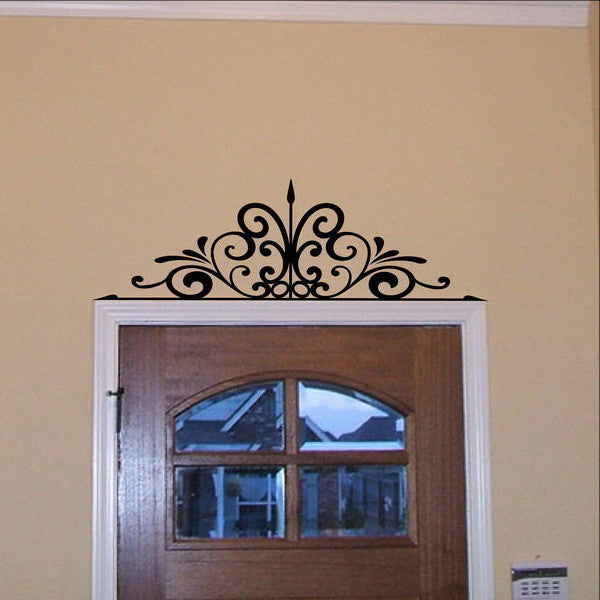 Wall Scroll Over the Door or Window Iron Look Vinyl Wall Decal 22084 - Cuttin' Up Custom Die Cuts - 1